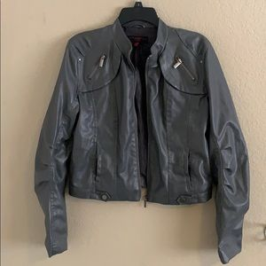 New Look Grey Faux Leather Moto Jacket